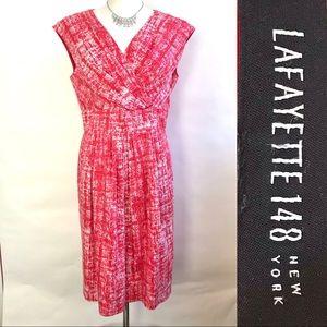 Lafayette 148 Red White Sheath Pleated Midi Dress
